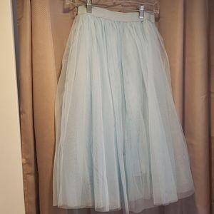 Powder blue tulle skirt
